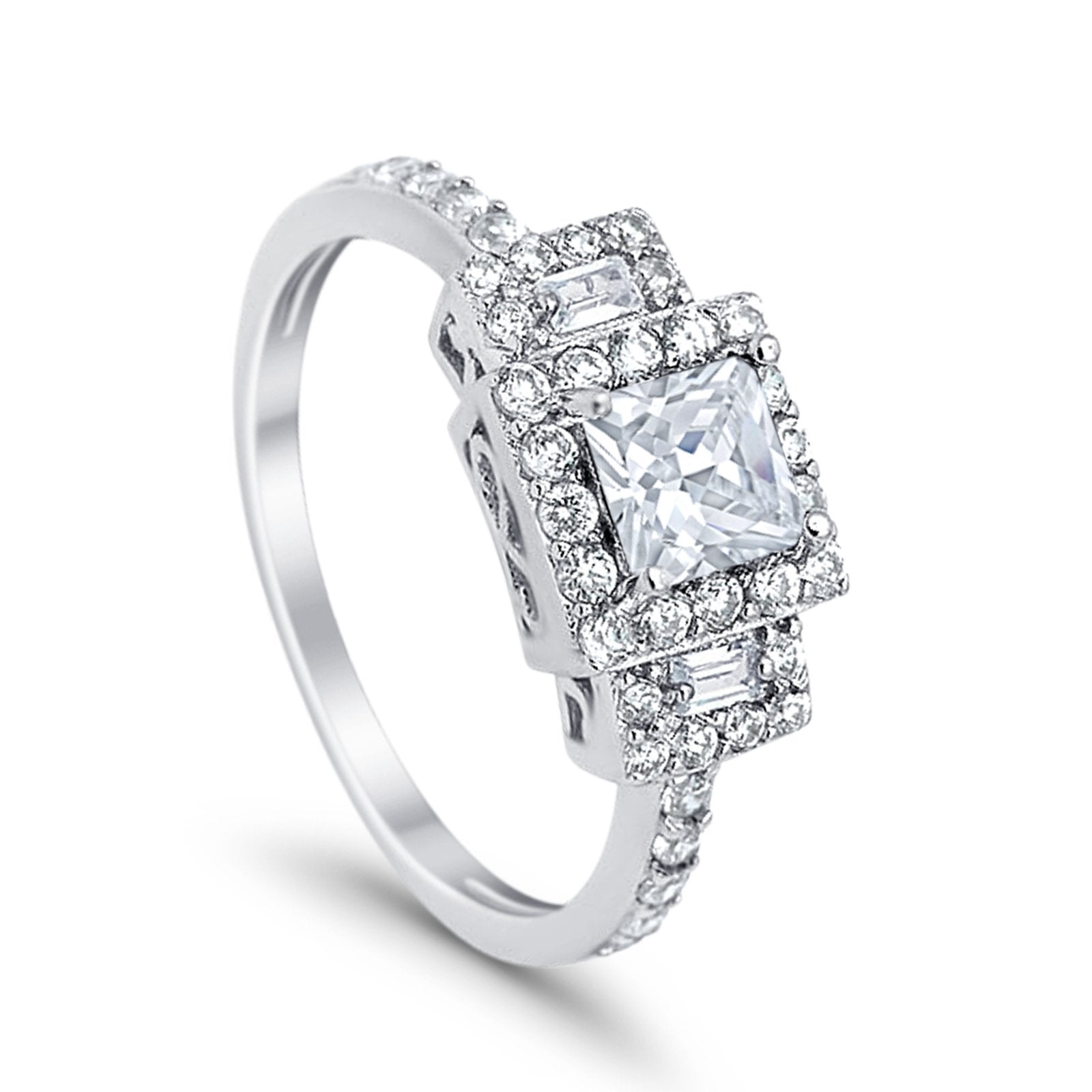 Halo Wedding Ring Baguette Simulated Cubic Zirconia 925 Sterling Silver