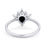 Art Deco Engagement Ring Pear Simulated Cubic Zirconia 925 Sterling Silver