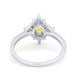 Vintage Oval Halo Wedding Ring Simulated Cubic Zirconia 925 Sterling Silver
