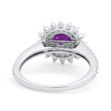 Halo Starburst Flower Wedding Ring Simulated Cubic Zirconia 925 Sterling Silver