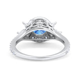 Halo Floral Wedding Ring Marquise Simulated Cubic Zirconia 925 Sterling Silver