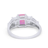 Engagement Ring Radiant Cut Simulated Cubic Zirconia 925 Sterling Silver
