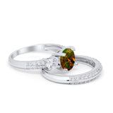 Three Stone Piece Wedding Ring Simulated Cubic Zirconia 925 Sterling Silver