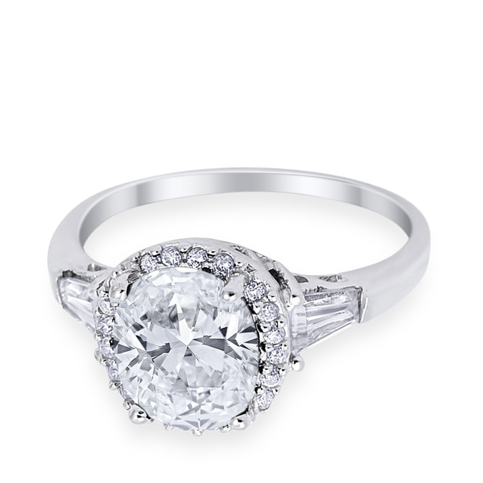 Halo Engagement Ring Baguette Simulated Cubic Zirconia 925 Sterling Silver