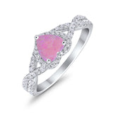 Heart Promise Ring Infinity Shank Simulated Cubic Zirconia 925 Sterling Silver