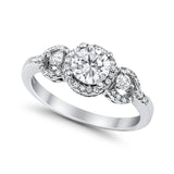 Halo Wedding Ring Round Simulated Cubic Zirconia 925 Sterling Silver
