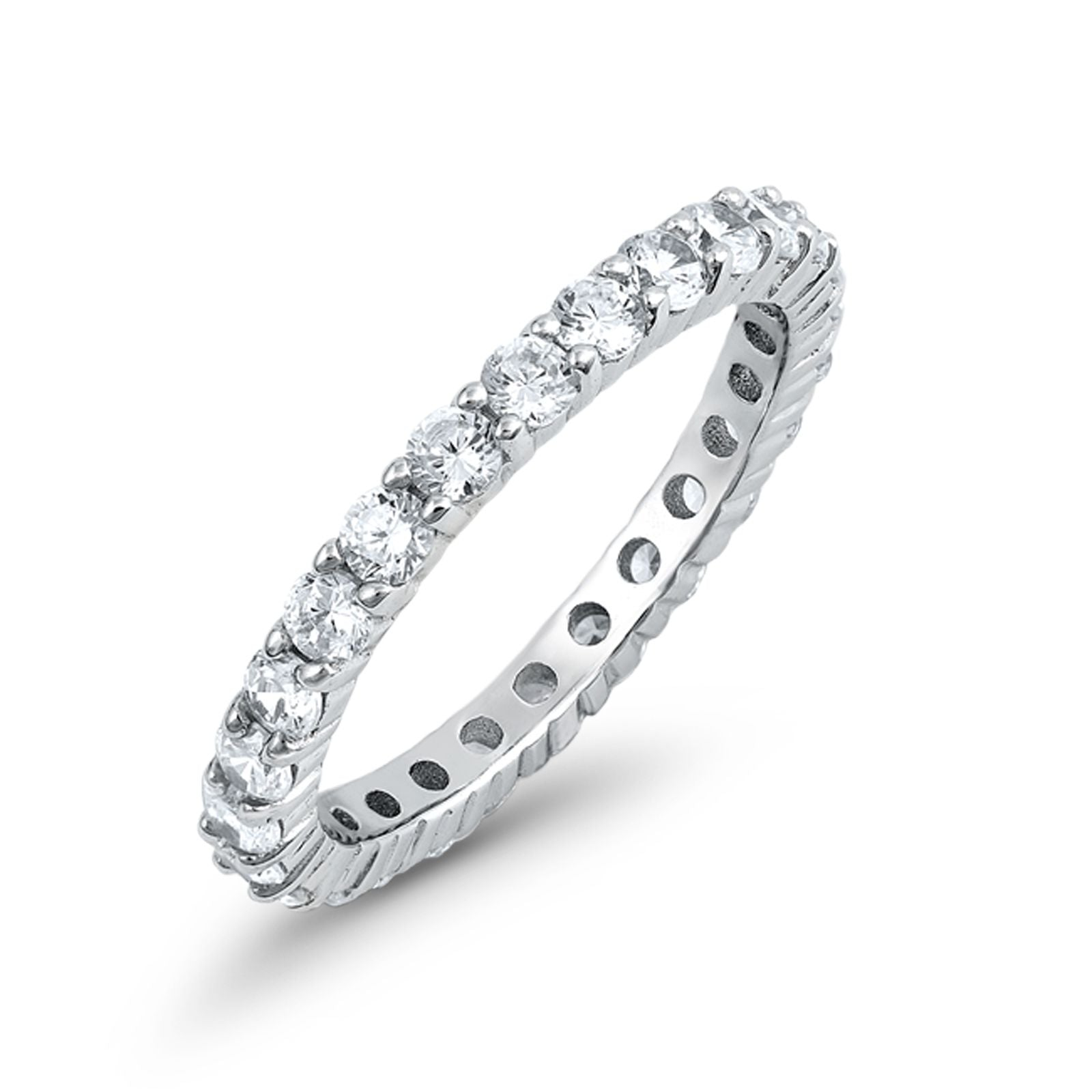 Stackable Full Eternity Wedding Simulated Band Ring Round CZ 925 Sterling Silver