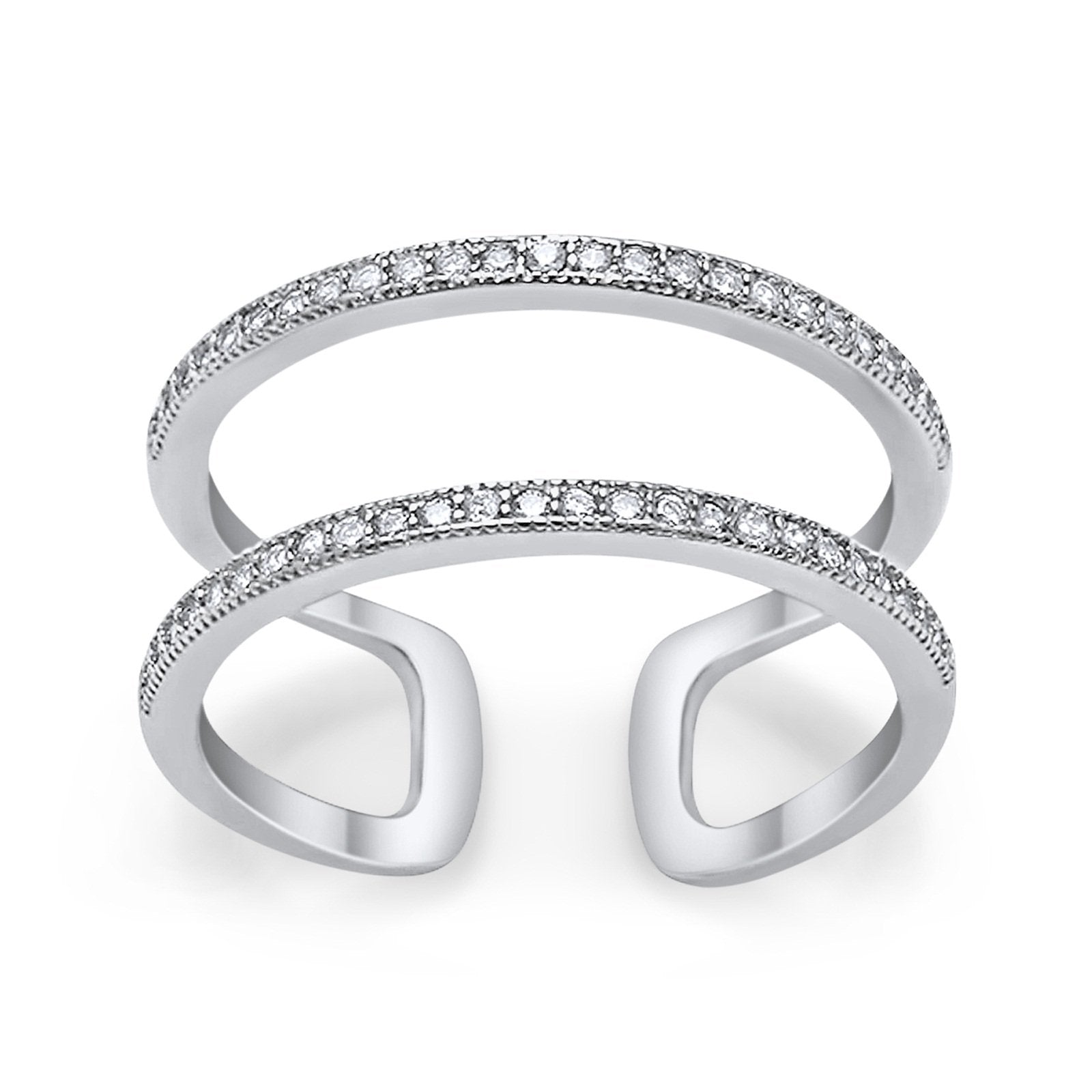 Double Band Row Round Simulated CZ 925 Sterling Silver Eternity Ring
