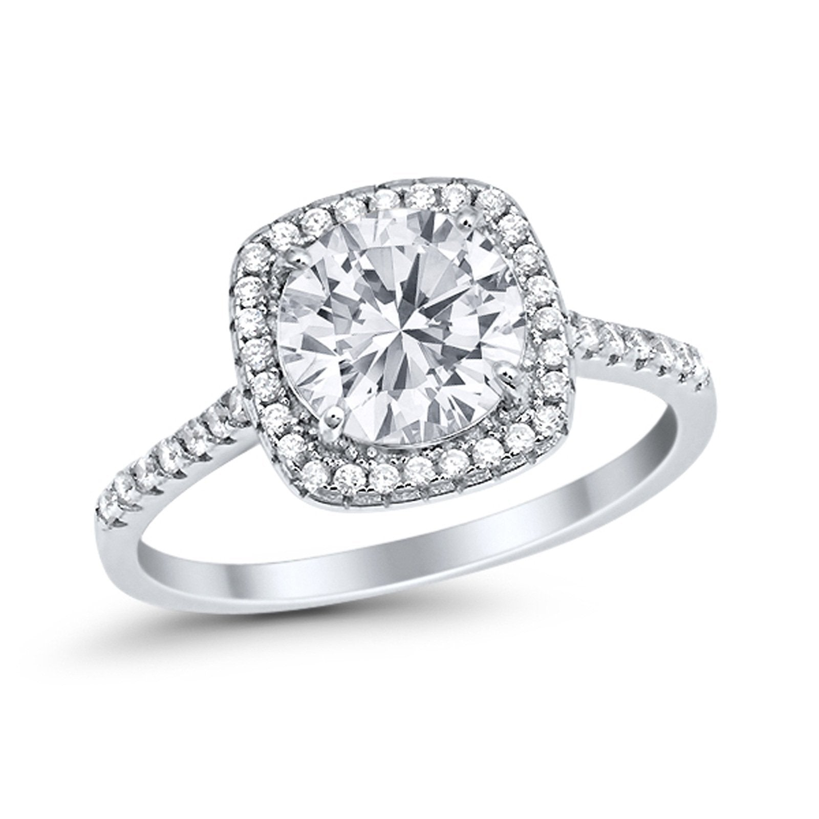 Halo Wedding Engagement Ring Round Simulated Cubic Zirconia 925 Sterling Silver
