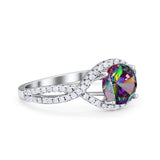Halo Twisted Engagement Ring Simulated Cubic Zirconia 925 Sterling Silver
