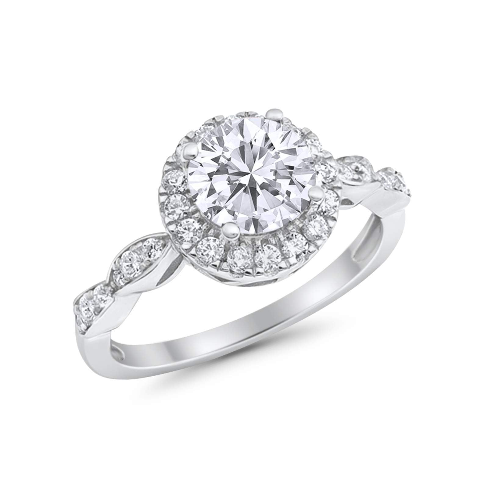 Art Deco Engagement Ring Round Simulated Cubic Zirconia 925 Sterling Silver