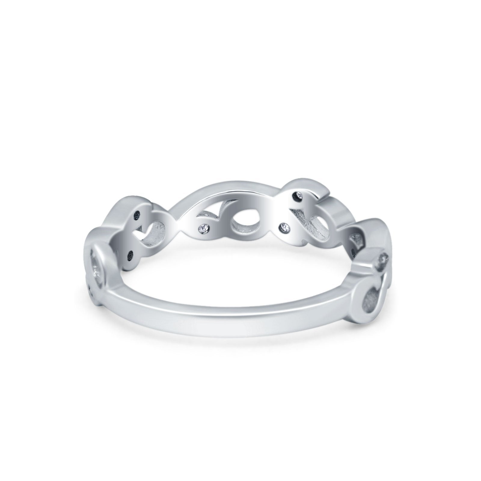 Filigree Thumb Ring Band Round Eternity Simulated CZ 925 Sterling Silver