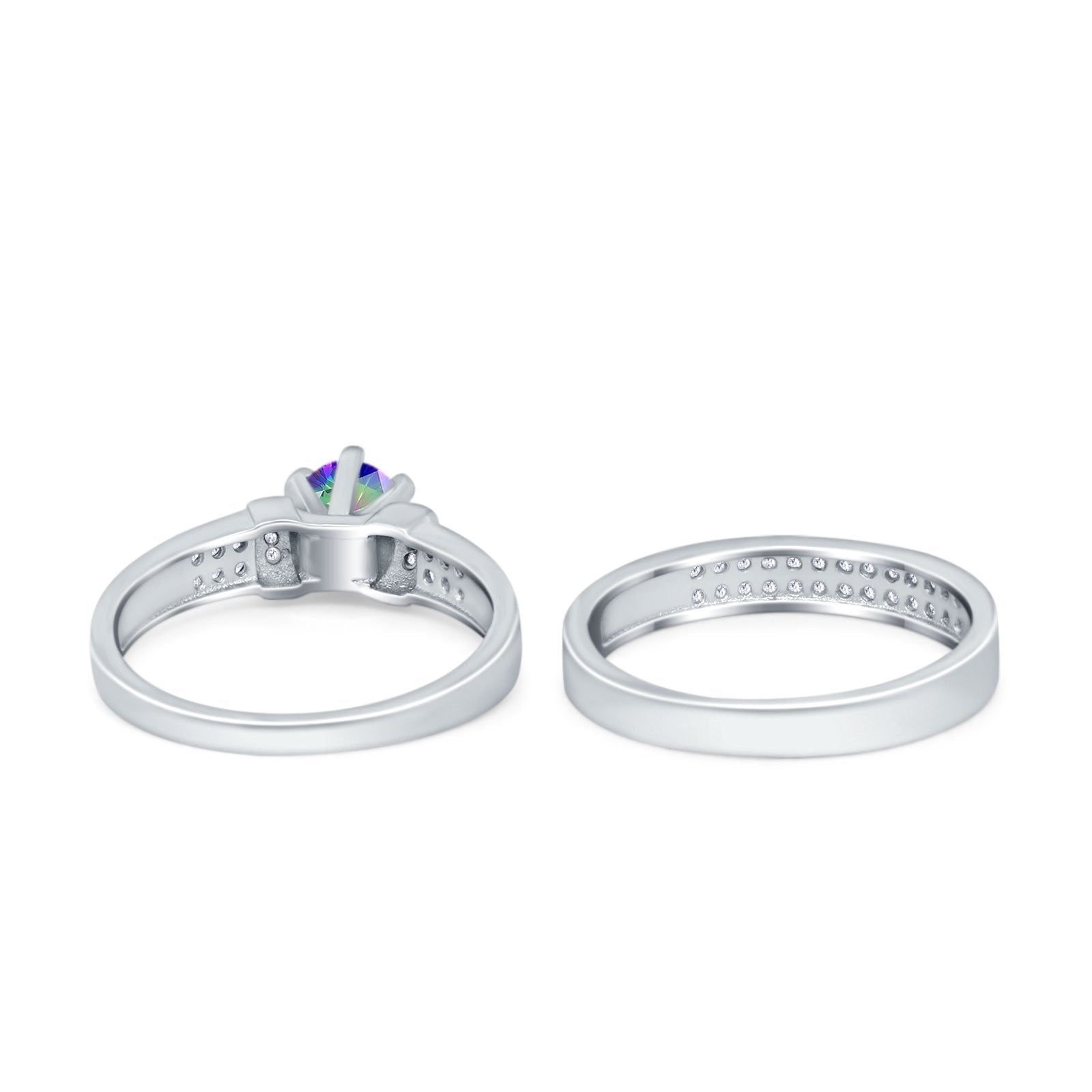 Two Piece Bridal Set Wedding Simulated Cubic Zirconia Ring 925 Sterling Silver