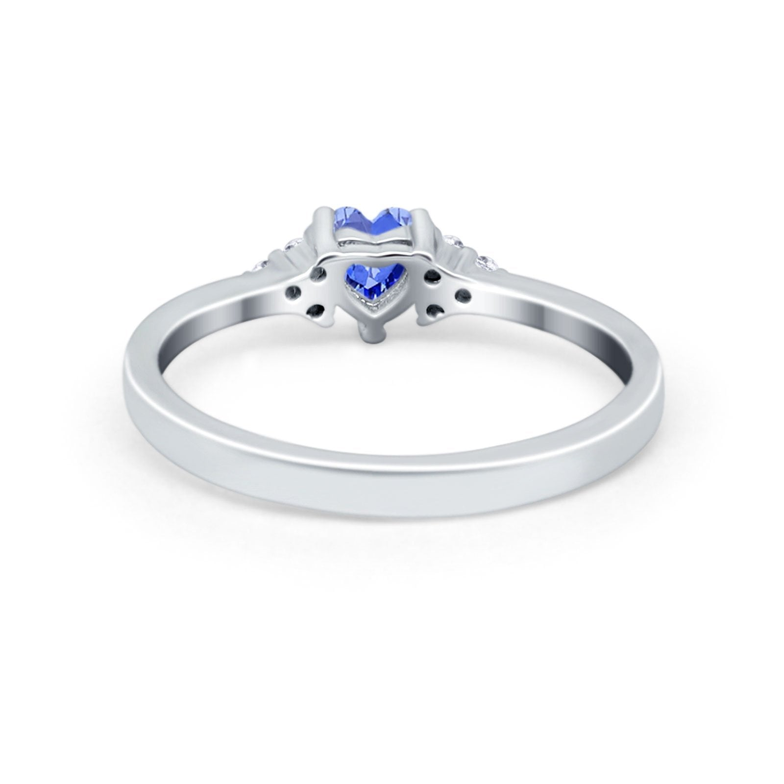 Engagement Heart Promise Ring Round Simulated Cubic Zirconia 925 Sterling Silver