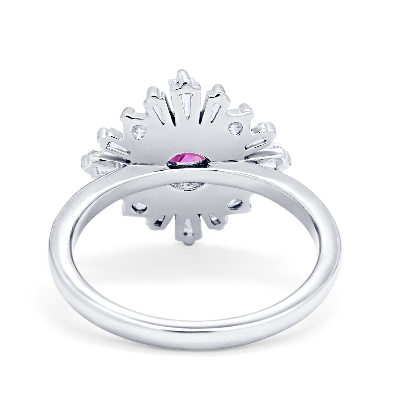 Halo Floral Style Vintage Wedding Ring Simulated Cubic Zirconia 925 Sterling Silver