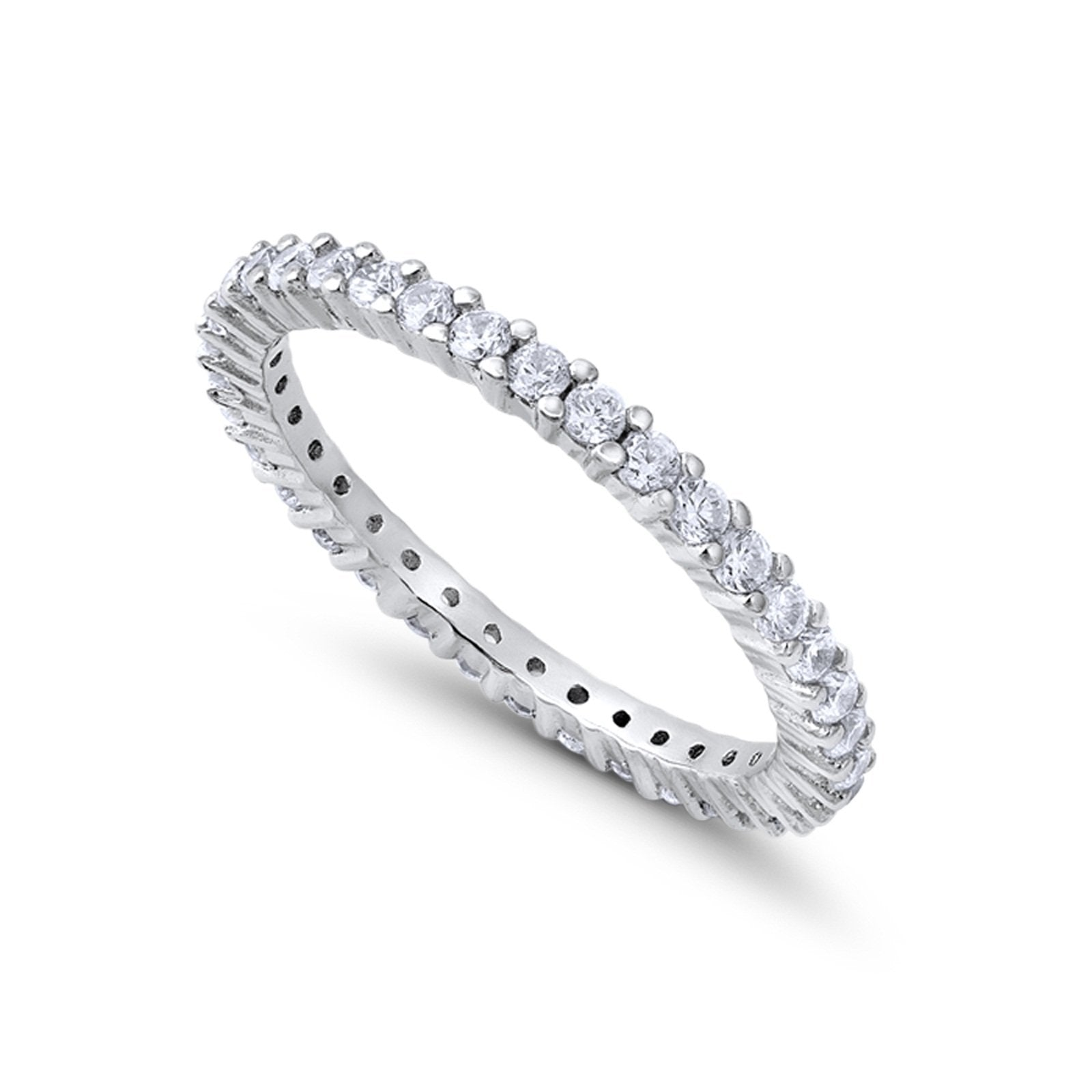 Full Eternity Wedding Band Round Simulated CZ Ring 925 Sterling Silver