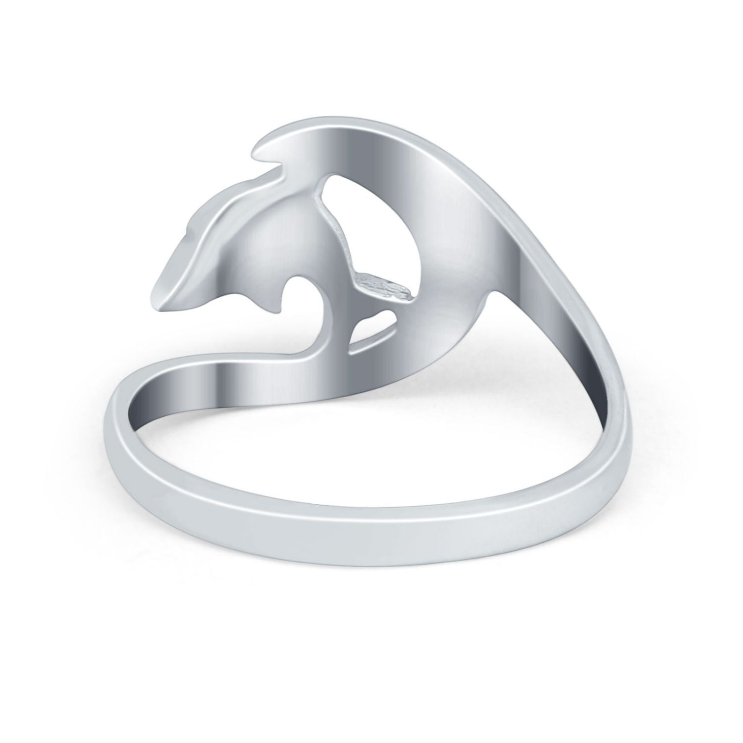Summer Wave Dolphin Wave Ring Band Simulated Cubic Zirconia 925 Sterling Silver