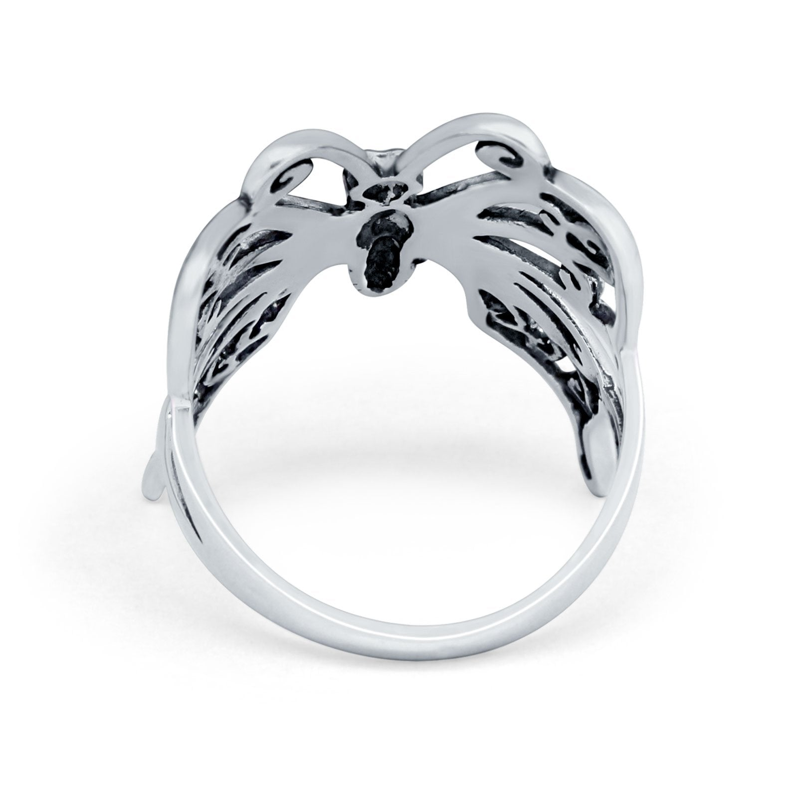 Sterling Silver Butterfly Filigree Ring Oxidized Round 925 Sterling Silver