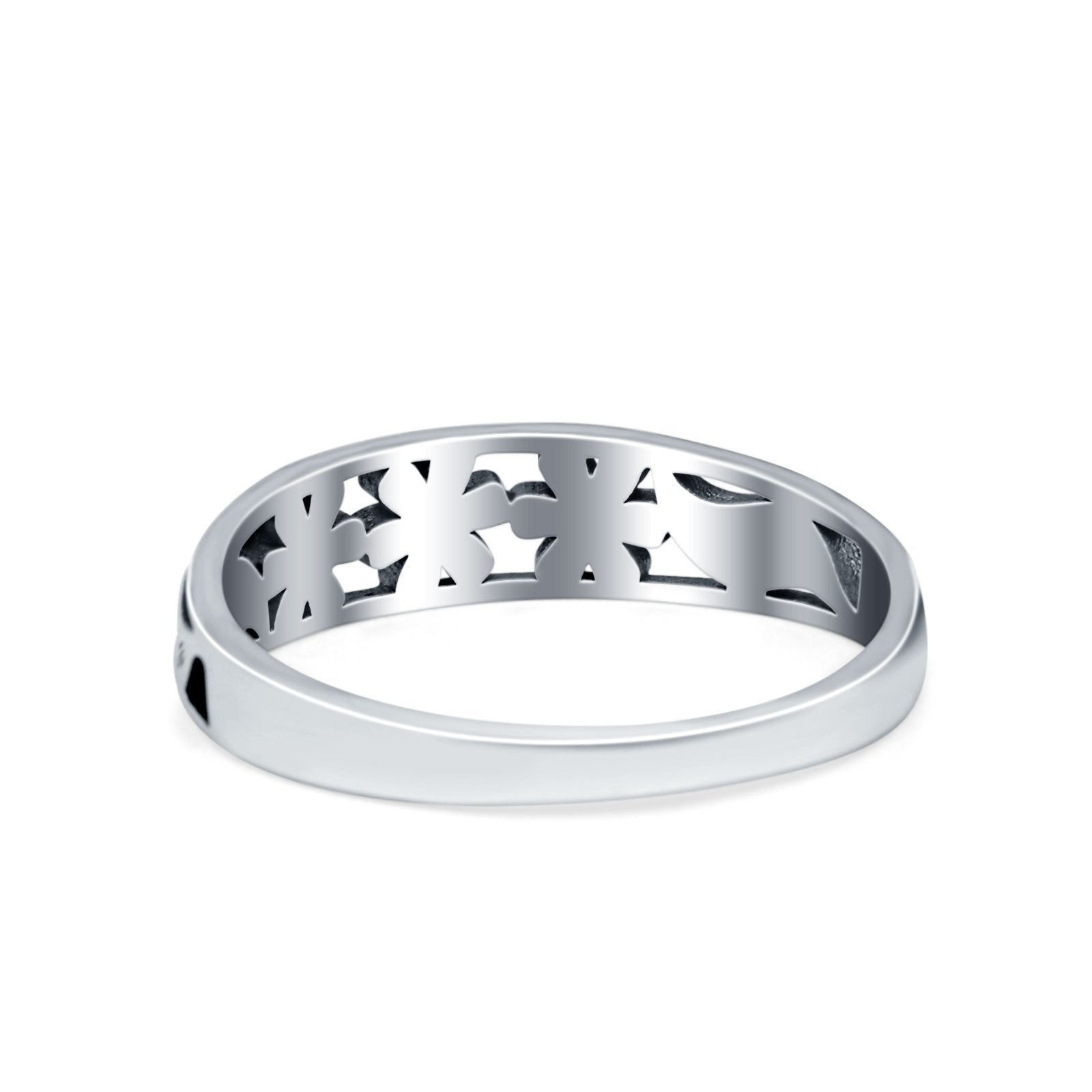 3 Flower Plain Ring Band Oxidized 925 Sterling Silver