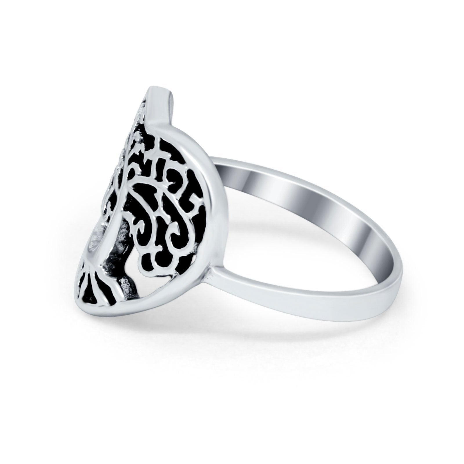 Sterling Silver Filigree Heart Tree of Life Band Ring Round 925 Sterling Silver