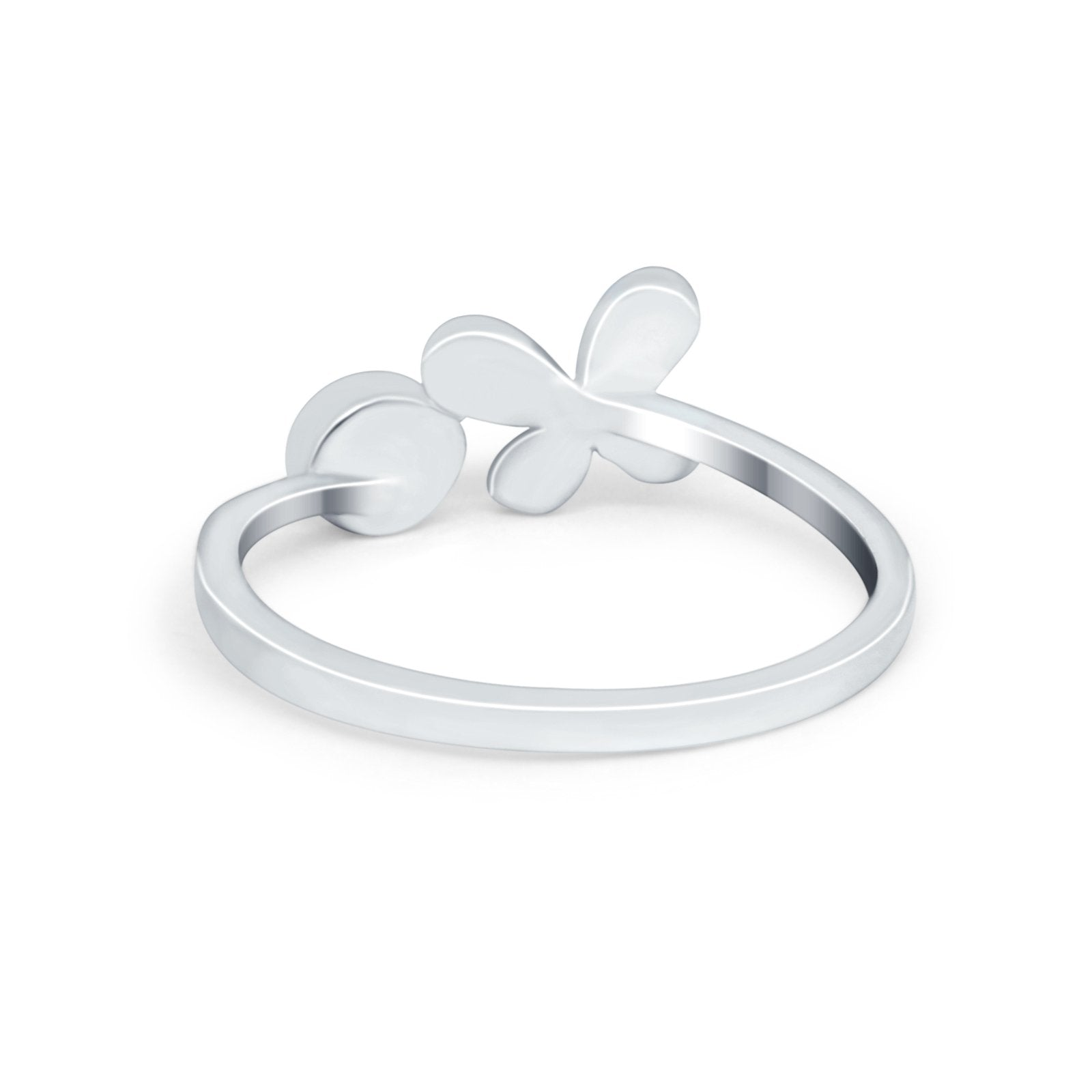 Petite Dainty Butterfly Thumb Ring Band Simulated Cubic Zirconia 925 Sterling Silver