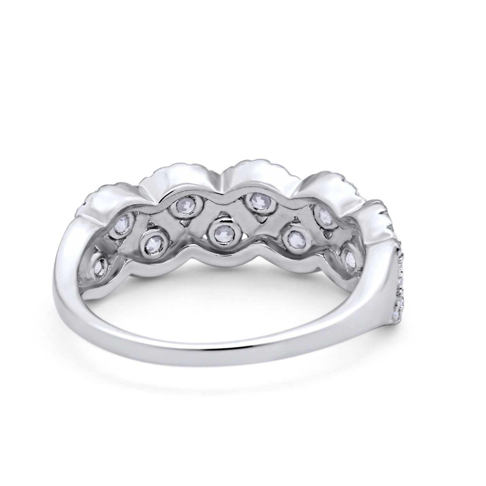 Weave Crisscross Infinity Ring Eternity Round Simulated CZ 925 Sterling Silver