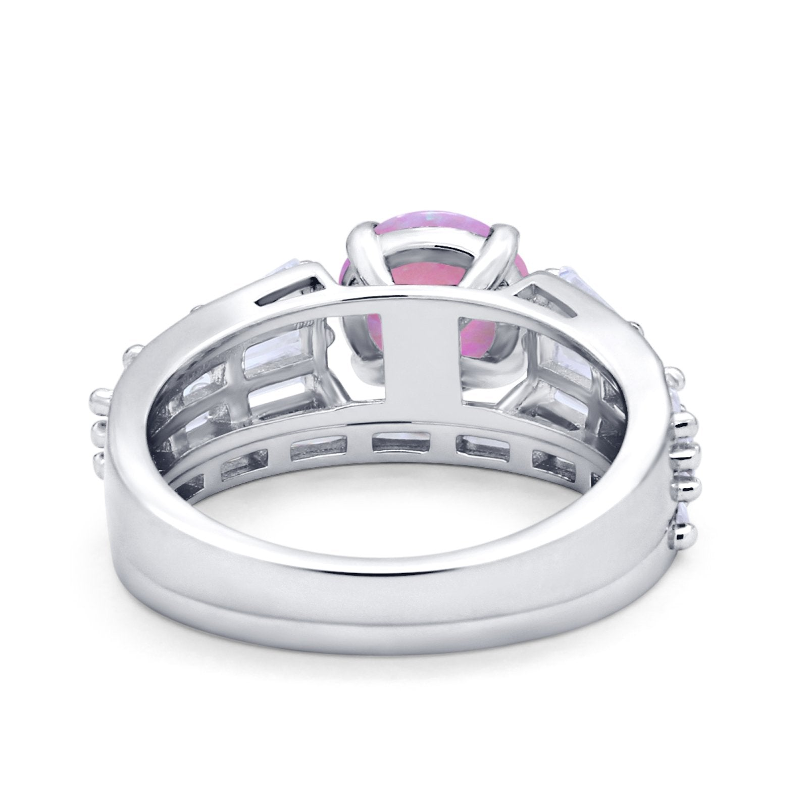 Two Piece Ring Band Bridal Round Simulated Cubic Zirconia 925 Sterling Silver