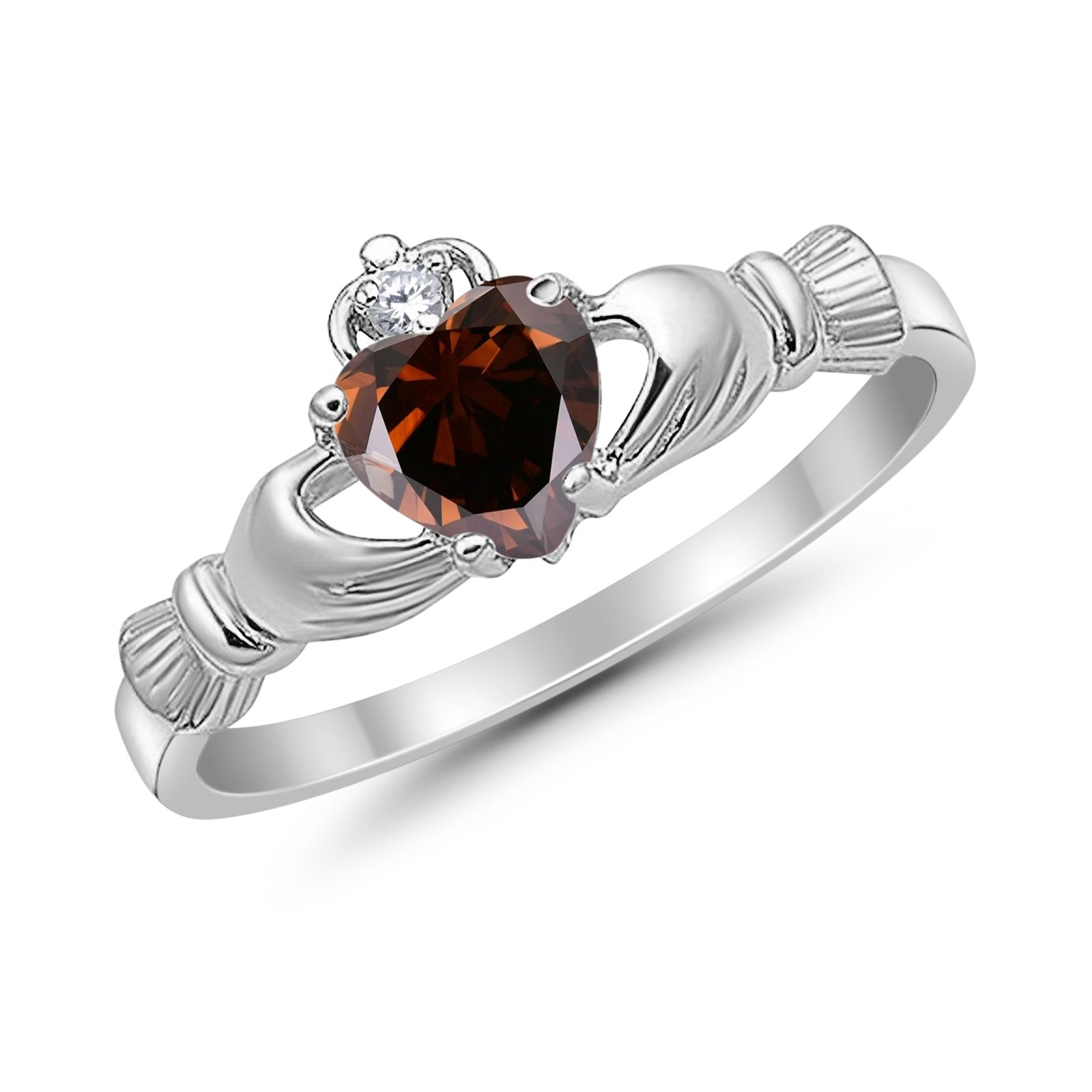 Claddagh Accent Heart Simulated CZ Wedding Ring 925 Sterling Silver