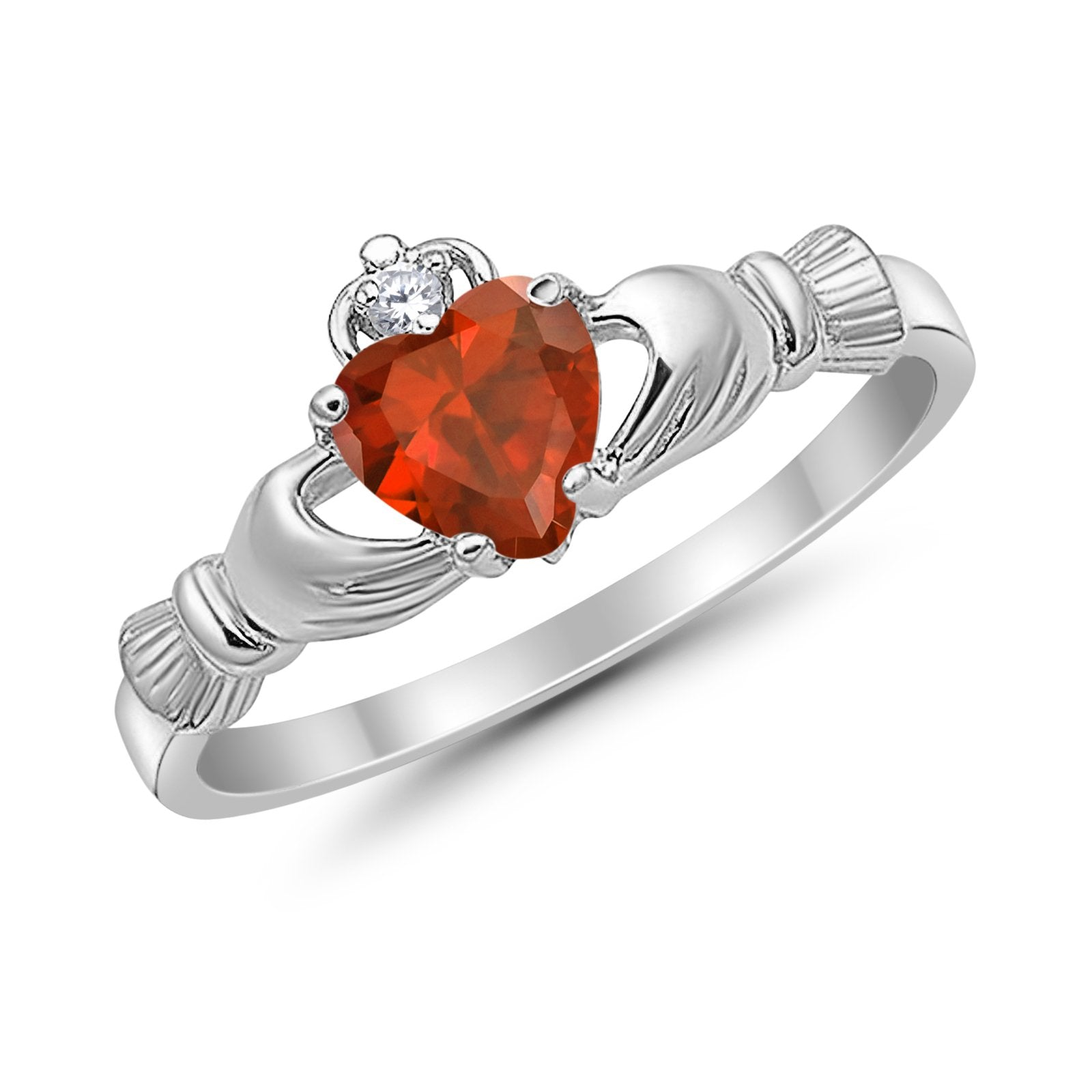 Heart Shape Simulated Cubic Zirconia Claddagh Wedding Ring 925 Sterling Silver