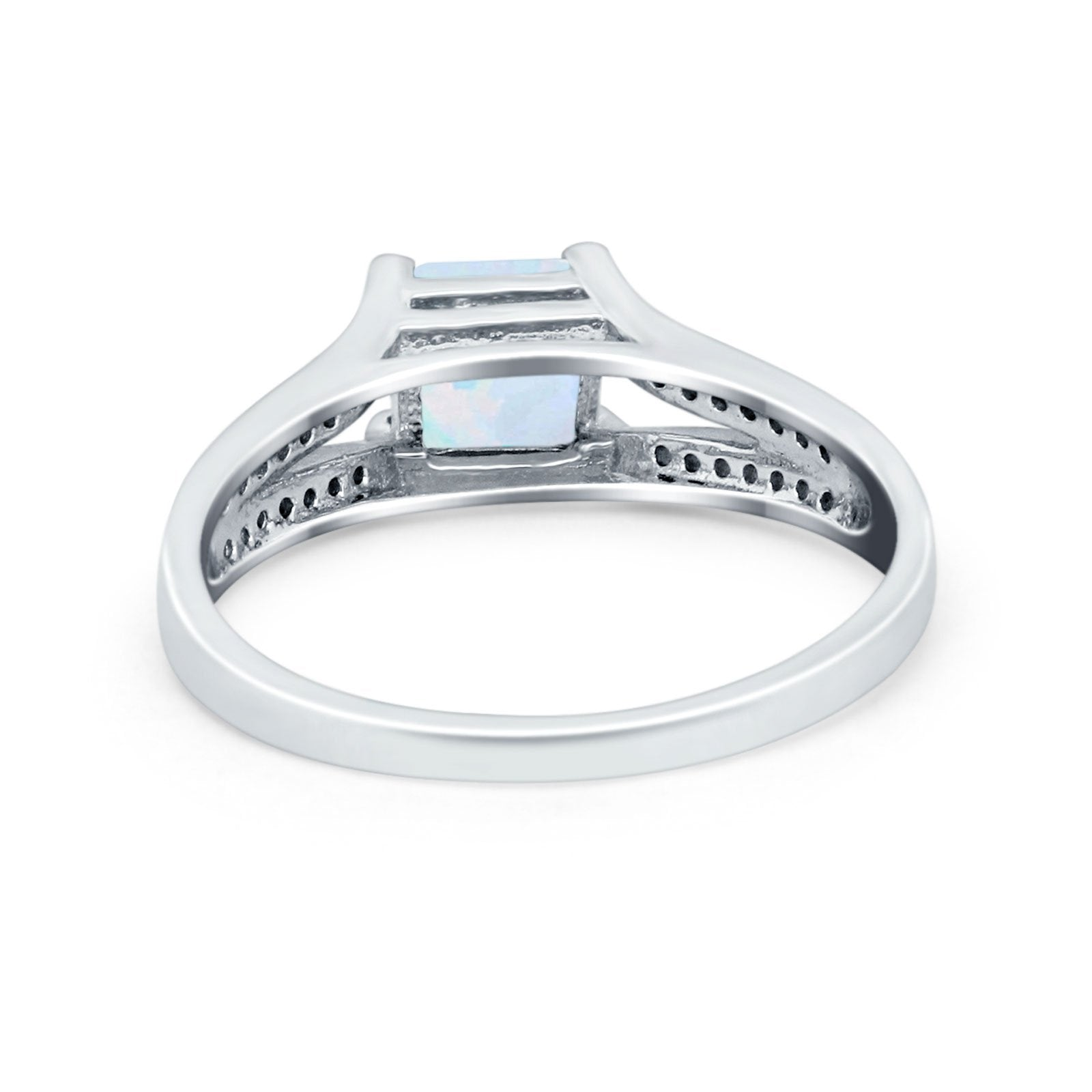 Princess Cut Wedding Ring Simulated Cubic Zirconia 925 Sterling Silver