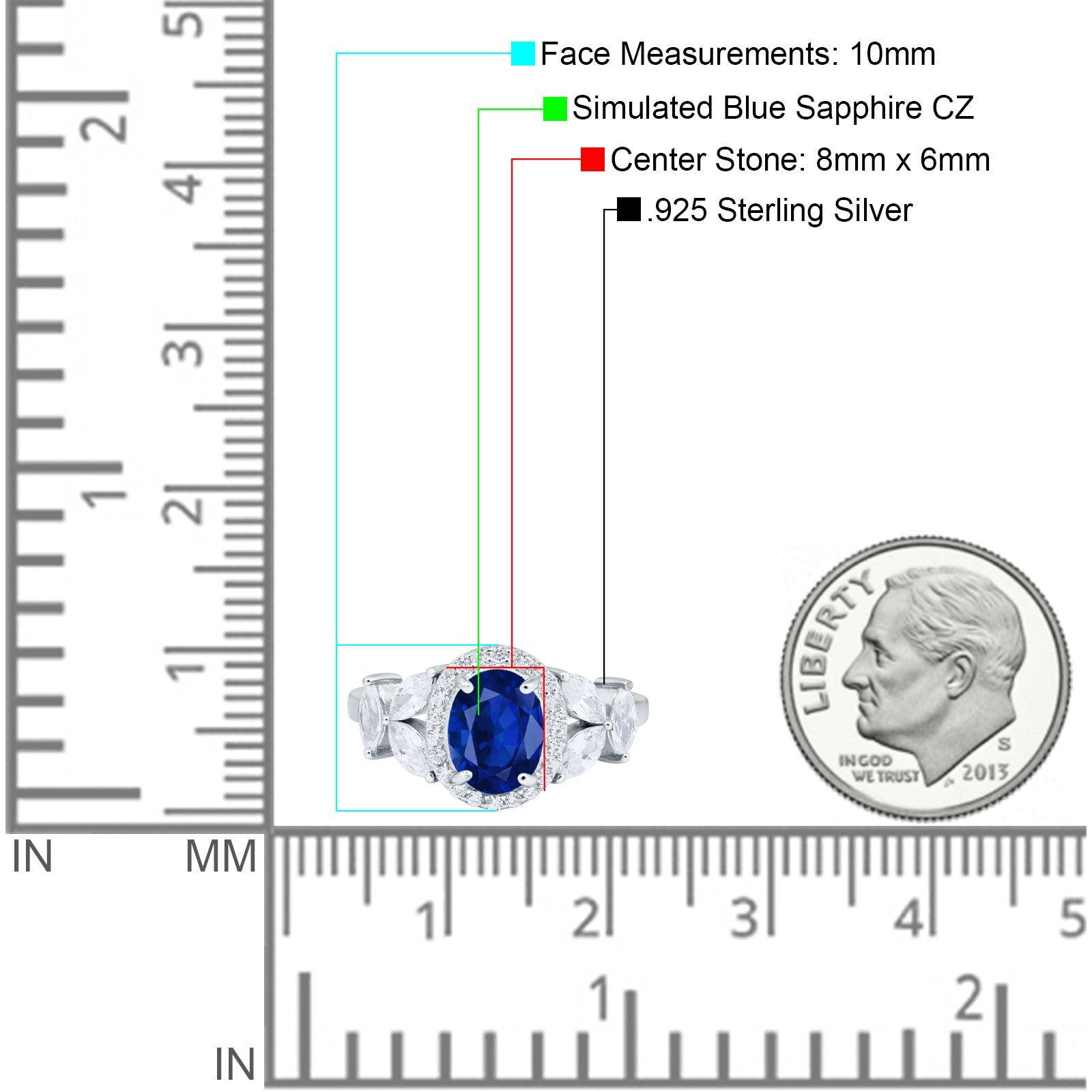 Oval Art Deco Engagement Ring Simulated Cubic Zirconia 925 Sterling Silver