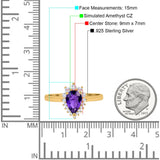 Halo Teardrop Pear Wedding Ring Simulated Cubic Zirconia 925 Sterling Silver