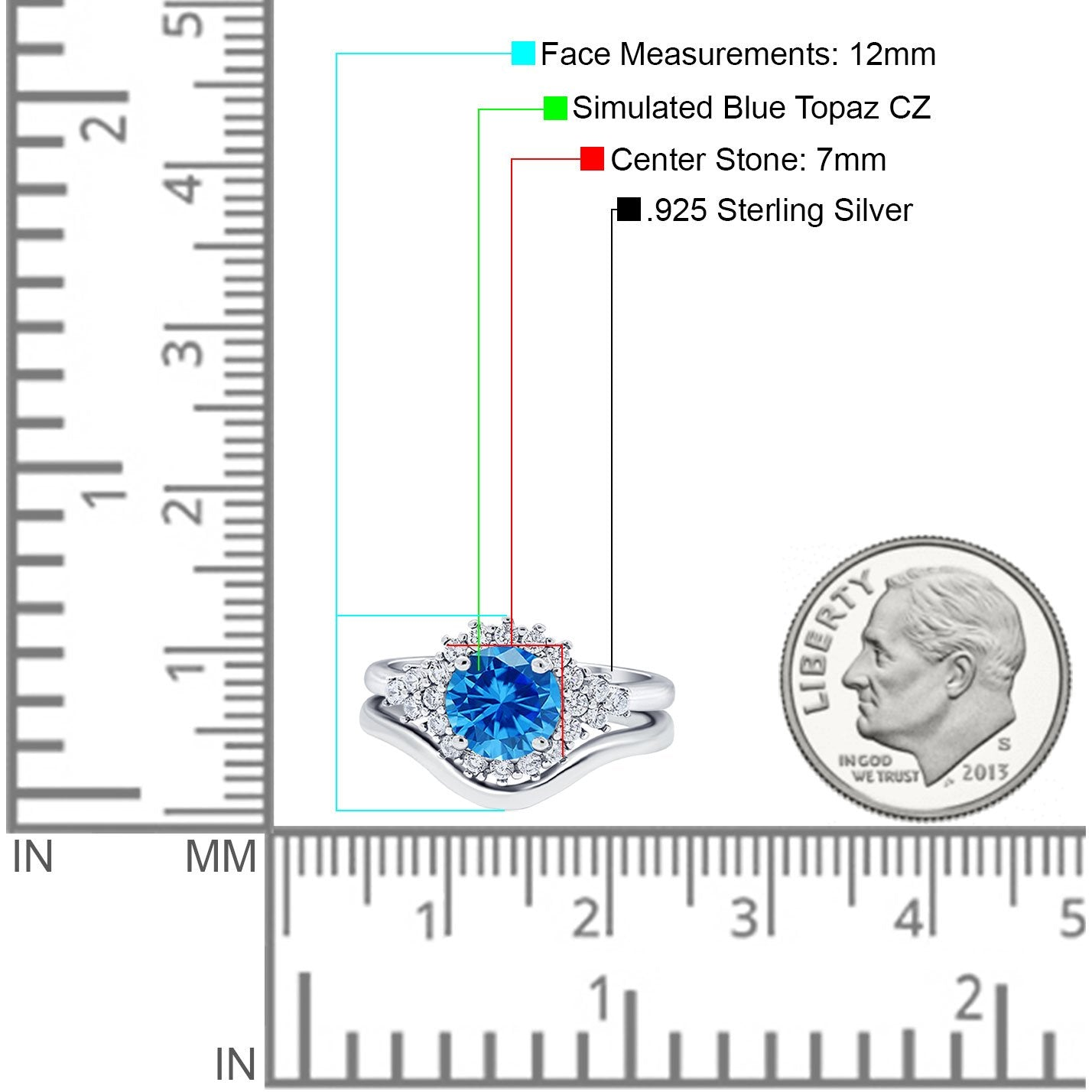 Two Piece Halo Engagement Ring Round Simulated Cubic Zirconia 925 Sterling Silver