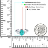 Butterfly Oval Art Deco Engagement Wedding Ring Round Simulated Cubic Zirconia 925 Sterling Silver