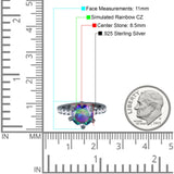Vintage Art Deco Wedding Ring Round Simulated Cubic Zirconia 925 Sterling Silver