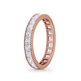 Full Eternity Wedding Band Ring Simulated CZ 925 Sterling Silver
