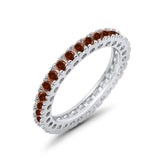 Eternity Wedding Band Rings Round Simulated CZ 925 Sterling Silver
