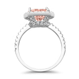 Halo Wedding Ring Cushion Cut Round Simulated Cubic Zirconia 925 Sterling Silver