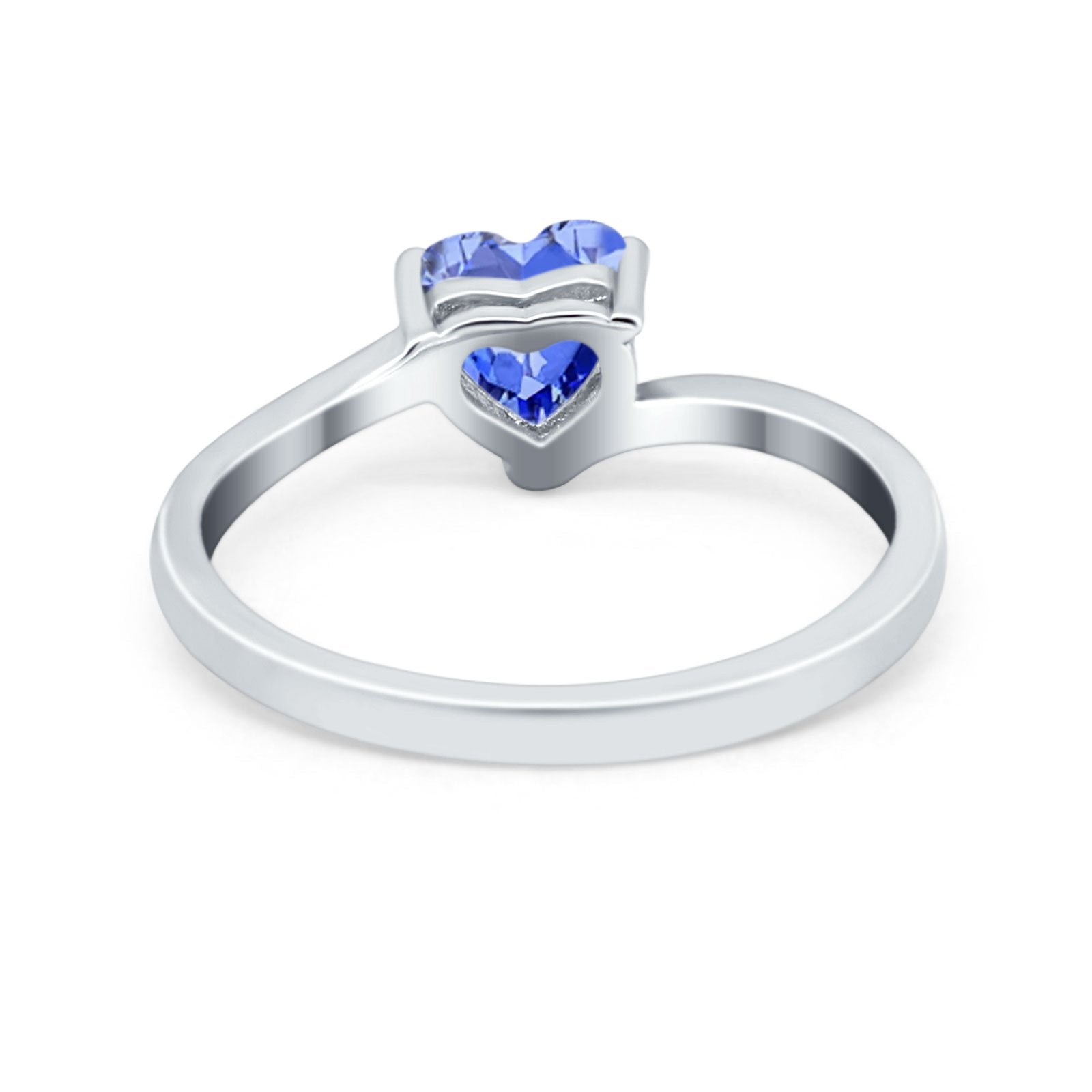 Swirl Wedding Heart Promise Ring Simulated Cubic Zirconia 925 Sterling Silver