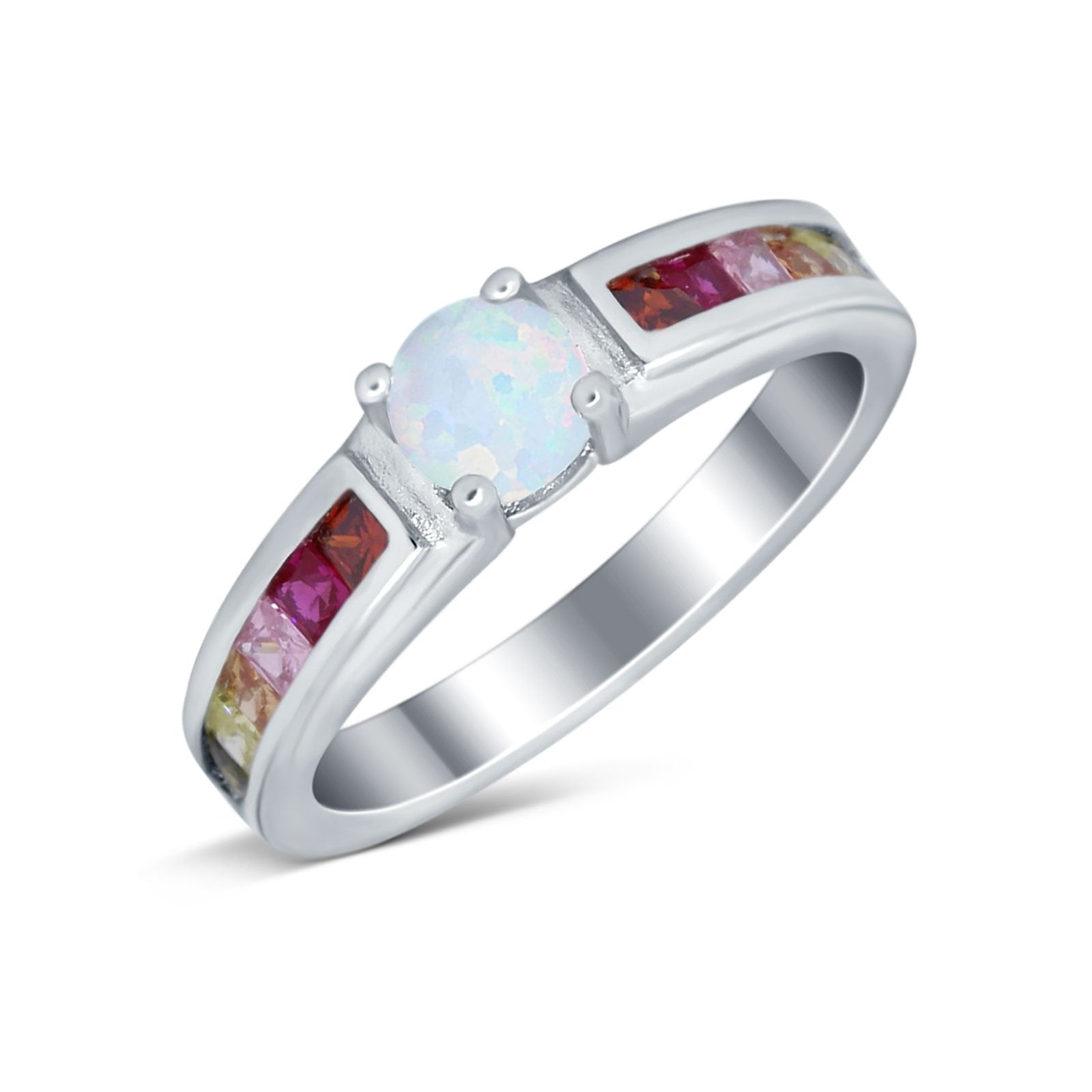 Soliaire Accent Multicolored Simulated Cubic Zirconia Ring 925 Sterling Silver