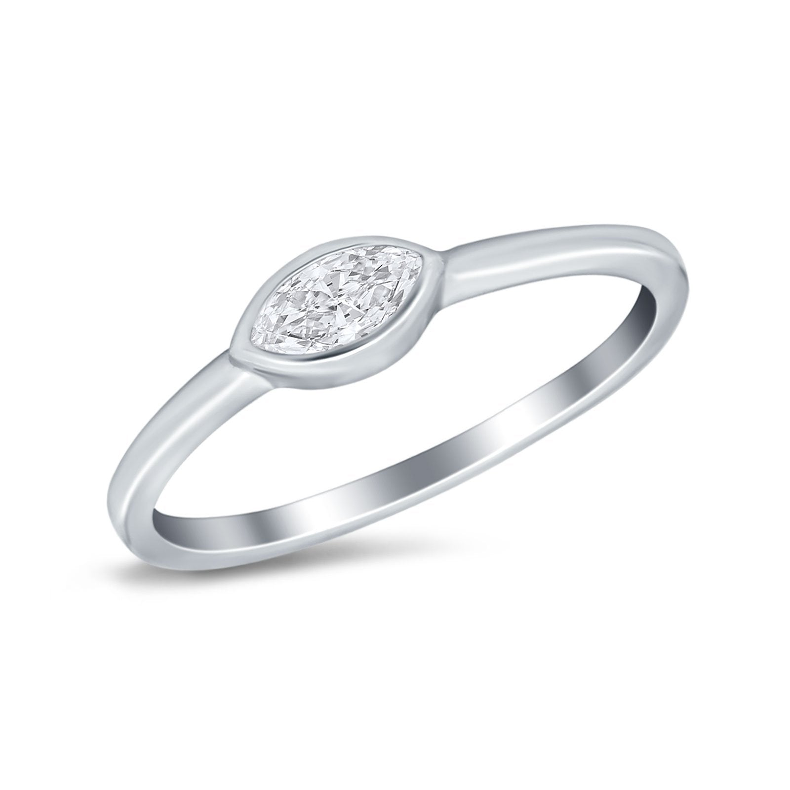 Petite Dainty Wedding Ring Simulated Marquise Cubic Zirconia 925 Sterling Silver