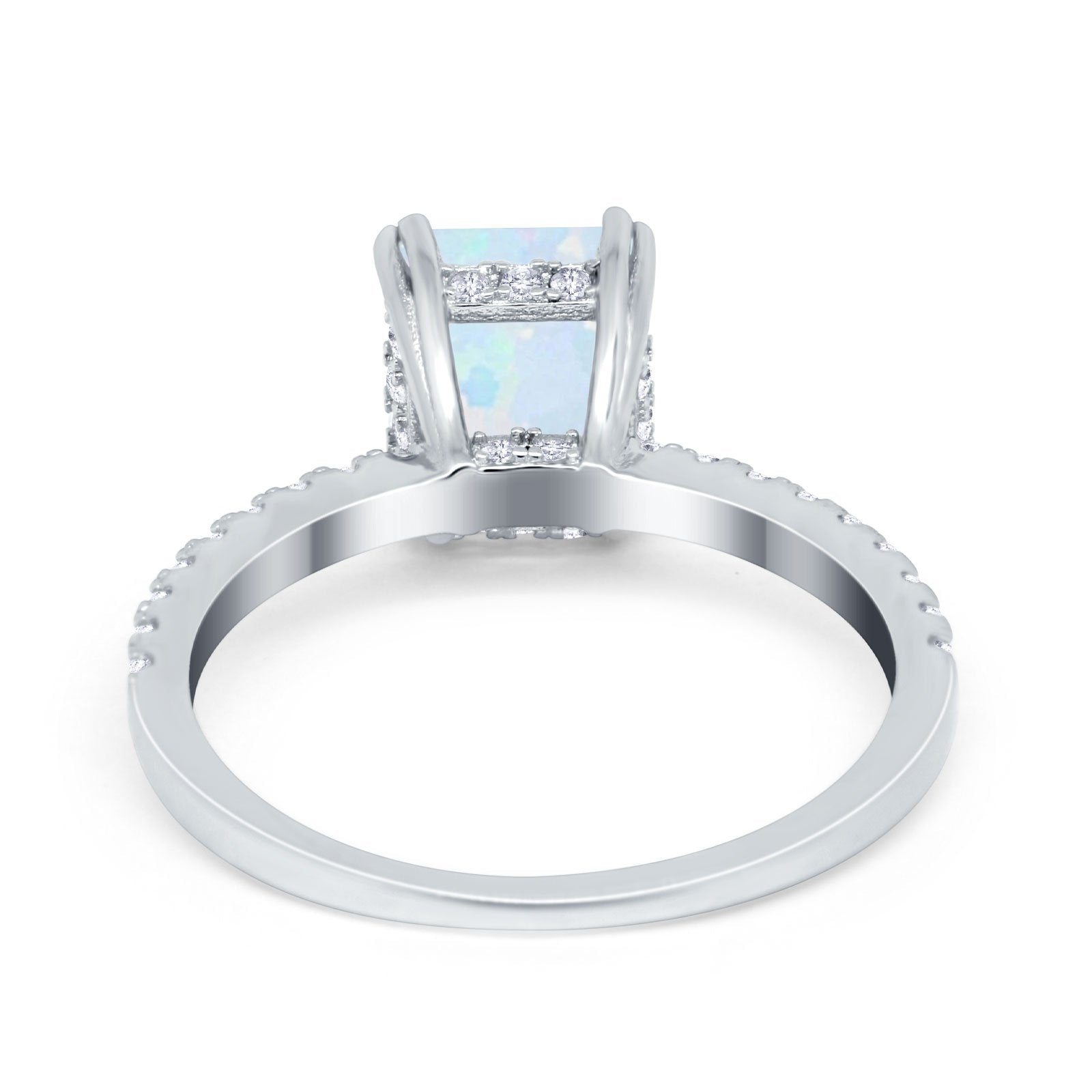 Art Deco Radiant Cut Engagement Ring Simulated Cubic Zirconia 925 Sterling Silver