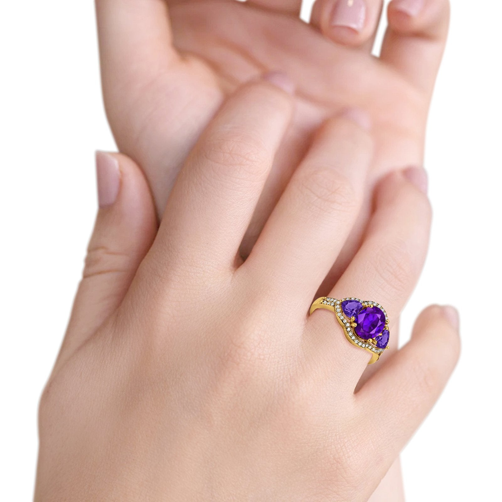 Halo Oval Simulated Cubic Zirconia Heart Amethyst CZ Ring 925 Sterling Silver