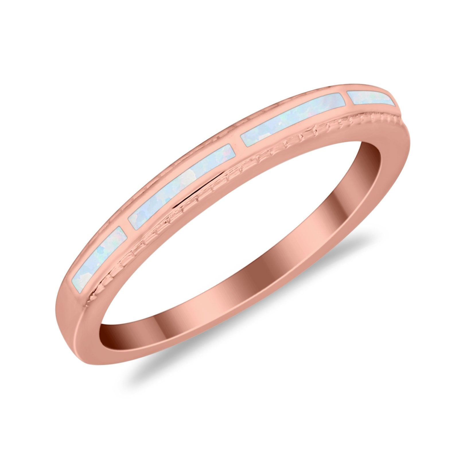 Wedding Band Rings Stackable Eternity Simulated Opal Round 925 Sterling Silver