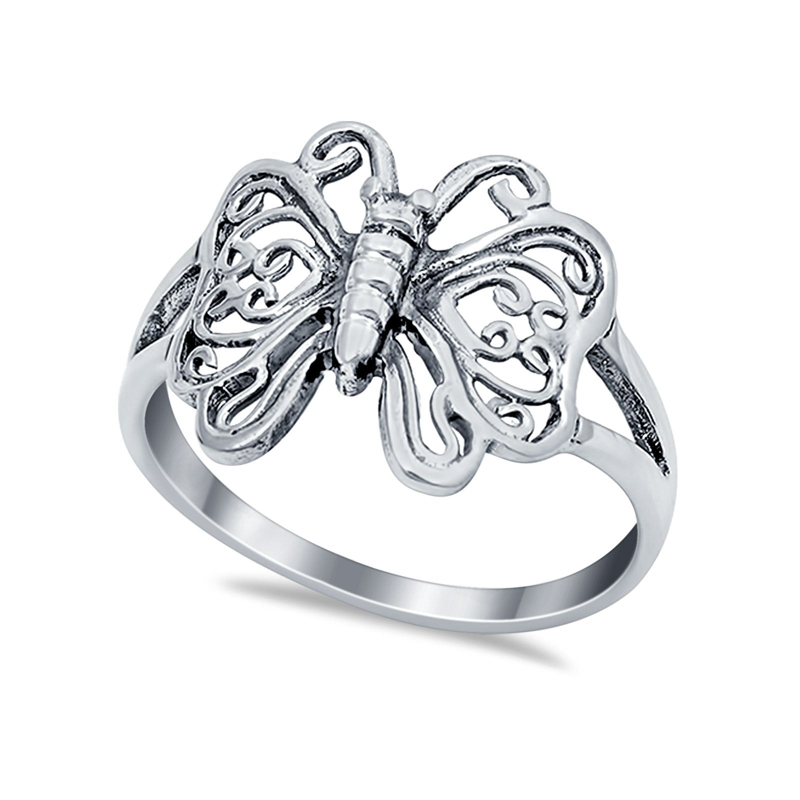 Sterling Silver Heart Filigree Butterfly Ring Band Round 925 Sterling Silver
