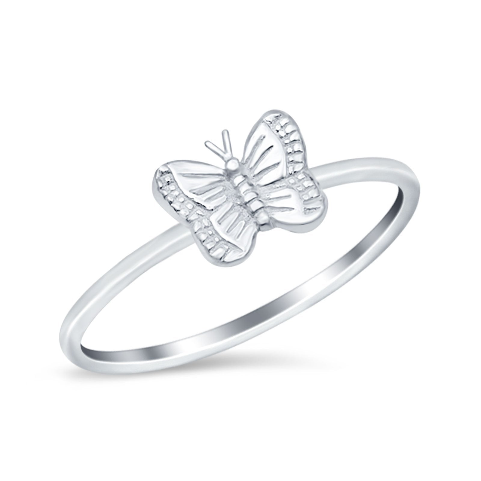 Petite Dainty Butterfly Ring Thumb Band Round 925 Sterling Silver