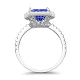 Engagement Ring Solitaire Cushion Simulated Cubic Zirconia 925 Sterling Silver