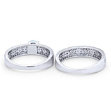 Two Piece Bridal Set Ring Round Simulated Cubic Zirconia 925 Sterling Silver