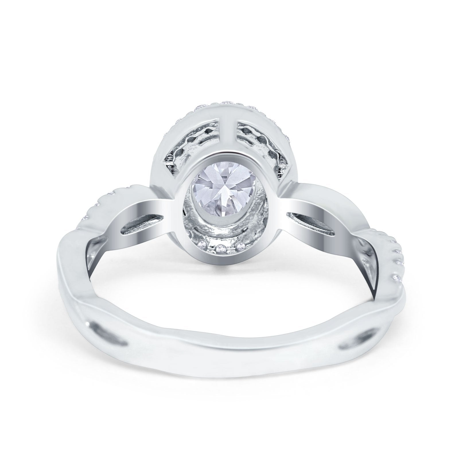 Halo Infinity Shank Engagement Ring Simulated Cubic Zirconia 925 Sterling Silver