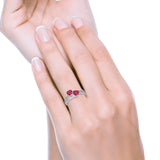 Double Heart Promise Ring Round Simulated Cubic Zirconia 925 Sterling Silver